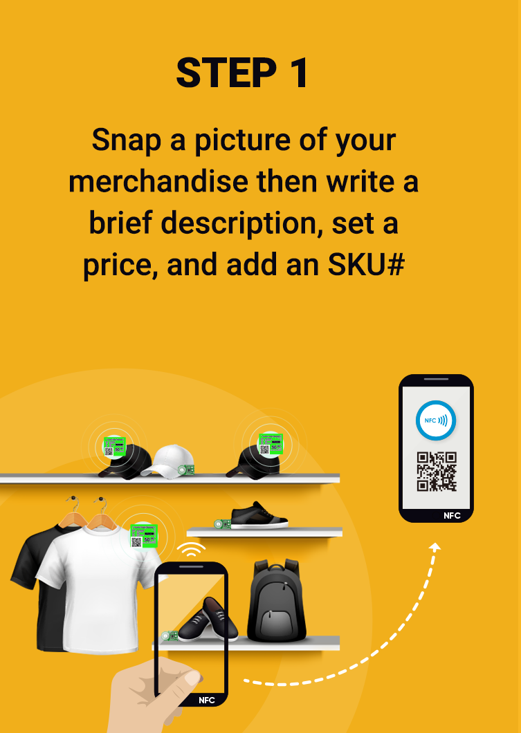 Snap a picture of your merchandise then write a brief description, set a price, and add an SKU#