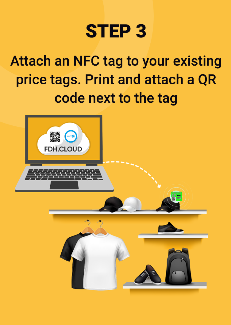 Attach an NFC tag to your existing price tags. Print and attach a QR code next to the tag